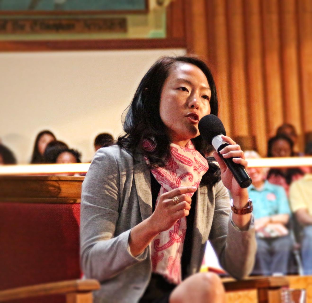 Sup Jane Kim speaks at the Allen Temple Baptist Church. Photo by Sana Saleem.