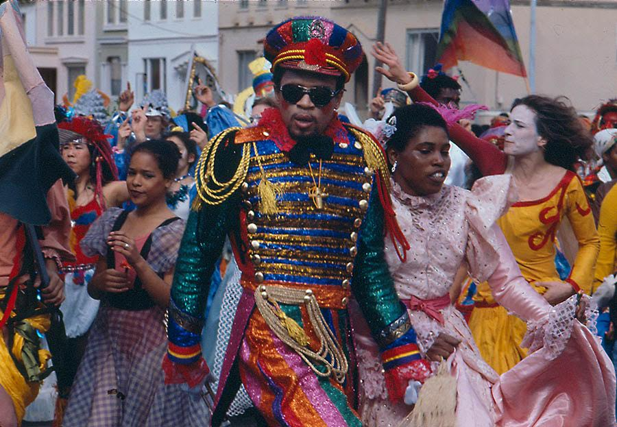 SF Carnaval was lit from year one — here, a parade participant from 1979. Photo: Lou Dematteis