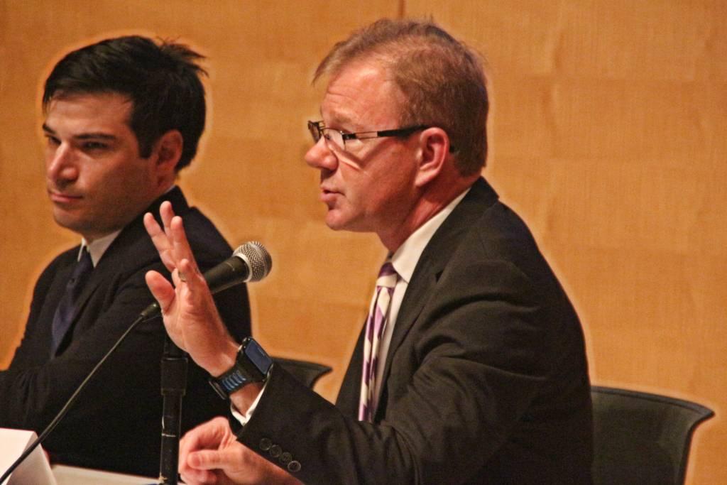"Steve Tuttle, Taser International, speaks at a panel asking ""Should San Francisco Adopt Tasers"". Photo by Sana Saleem"