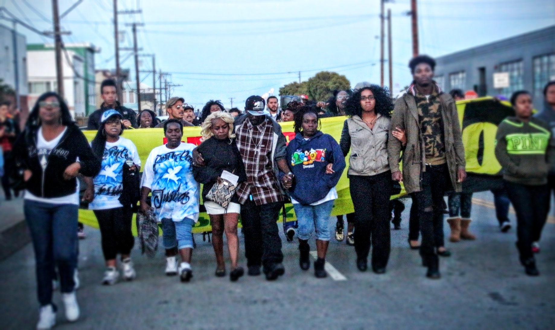 The Nelson family march to Bayview Police Station. Photo by Sana Saleem