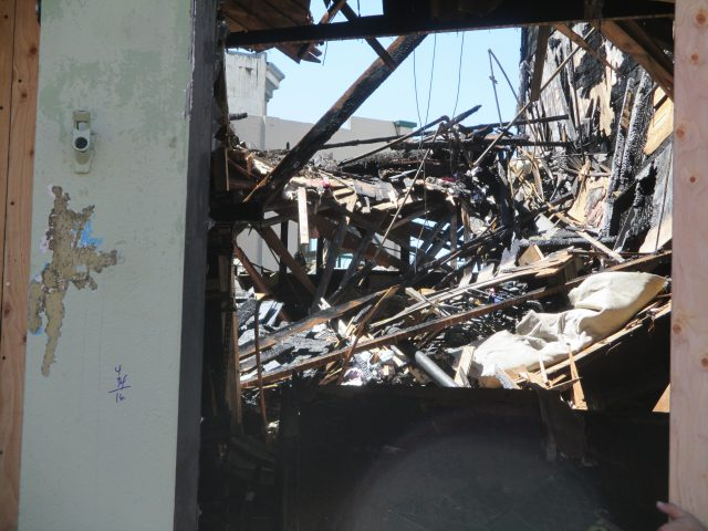The remains of what was Cole Hardware, a locally owned independent store that paid its workers a fair wage
