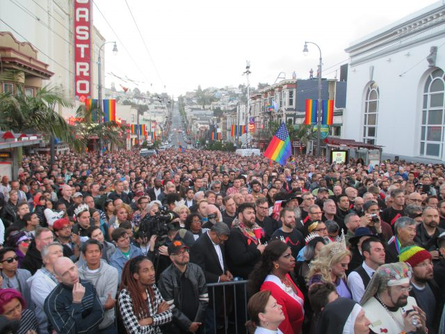 A huge crowd packed Castro street