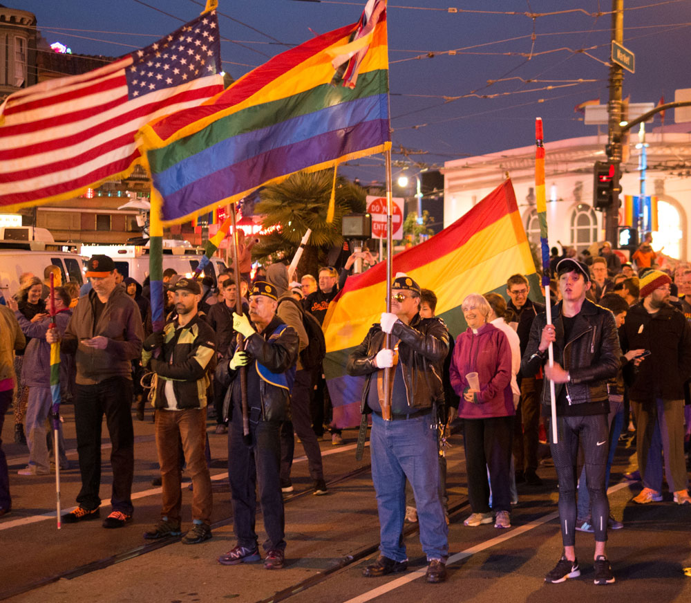 The candlelight vigil became a march from the Castro to Civic Center.
