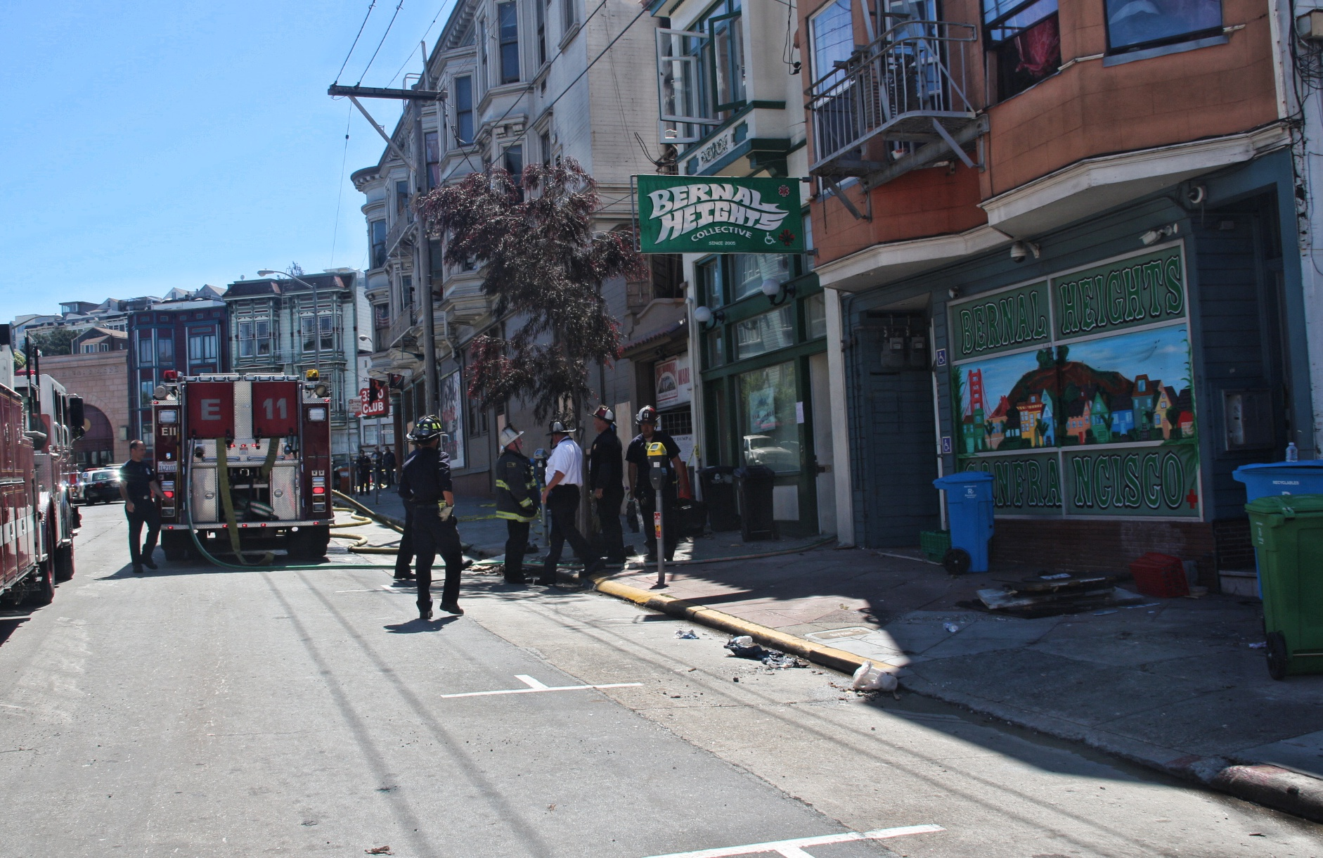 "San Francisco Fire Department at the scene after reports of ""smoldering"". Photo by Sana Saleem."