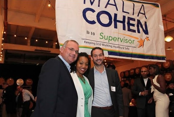 Sup. Cohen and Josh Smith and Dan Safier of Potrero Partners LLC very friendly at a 2013 fundraiser