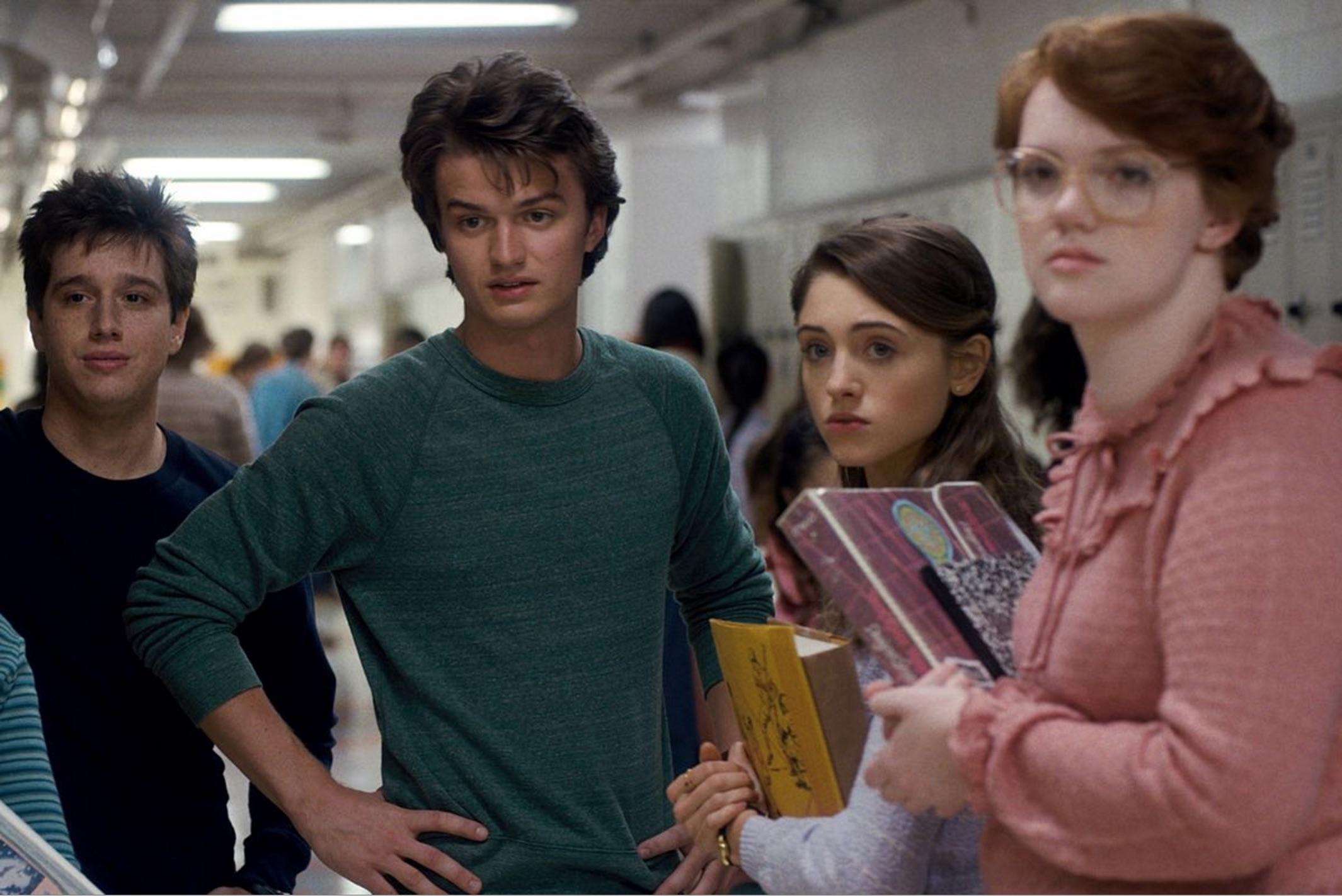 "The teens of Hawkins Hight in ""Stranger Things"""