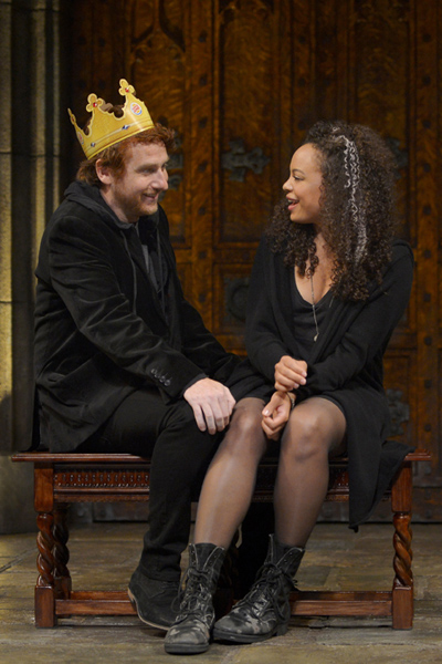 Prince Harry (Harry Smith) flirts with Jessica (Michelle Beck) after a night of partying in 'King Charles III'