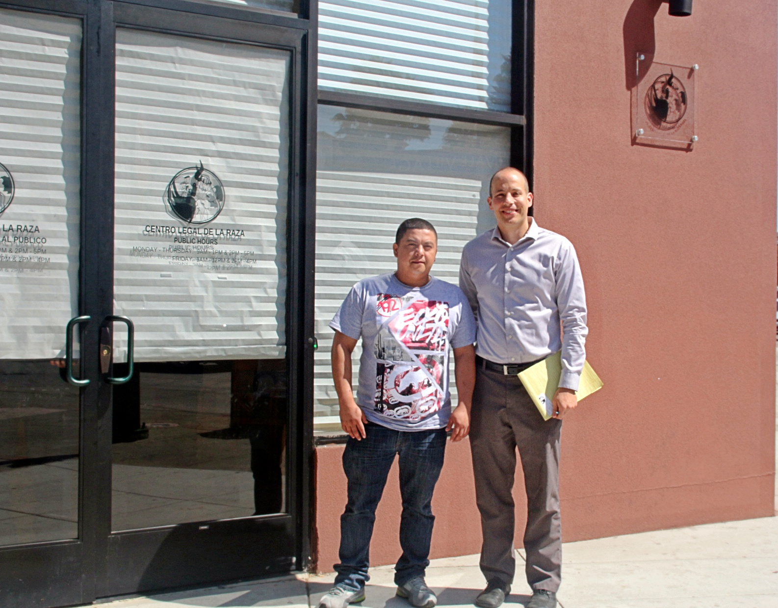 William Navarette with his attorney Jesse Newmark infront of Centro Legal de la Raza office in Oakland. Photo by Sana Saleem.