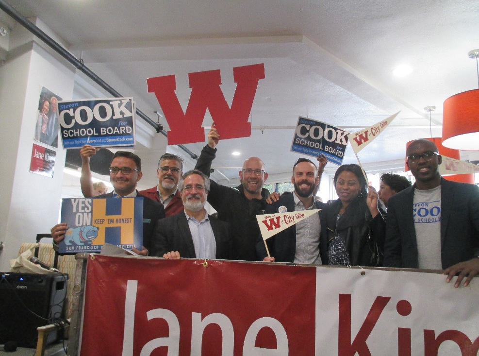 Lots of candidates at the Bernie-Jane Kim rally
