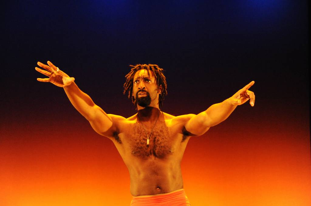 Antoine Hunter shows the audience how a deaf dancer feels the beat at a 2011 Sins Invalid show.