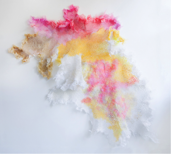 """Diane DallasKidd employed used plastic shopping bags to create """"Plastic Lace,"""" her piece in SCRAP's 40th anniversary exhibition."""