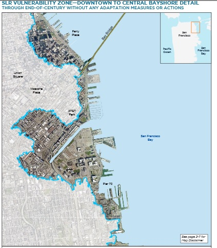 The city's own charts show serious vulnerability to sea-level rise -- right in the priority development areas