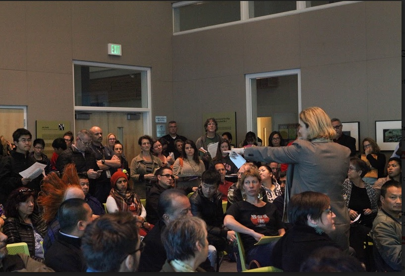 Chancellor Susan Lamb lectures protesters before walking out of a meeting. Photo by Cassie Ordonio