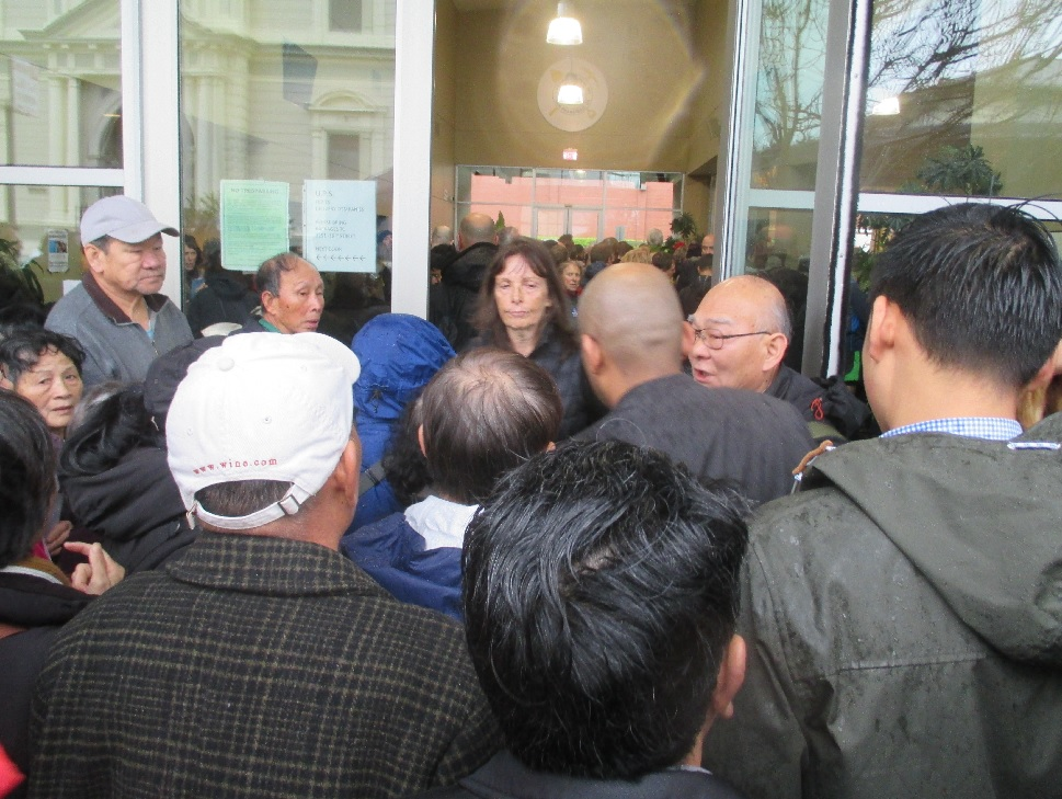 Seniors from Chinatown said they were promised a special line, but nobody else knew about it