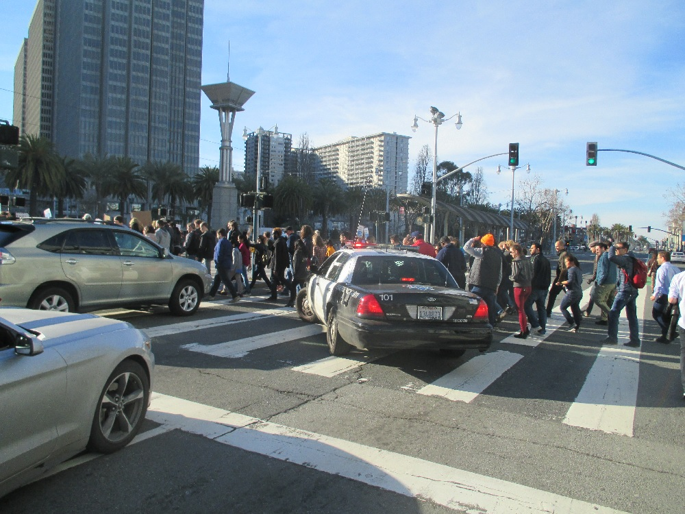 The cops stop traffic on the Embarcadero