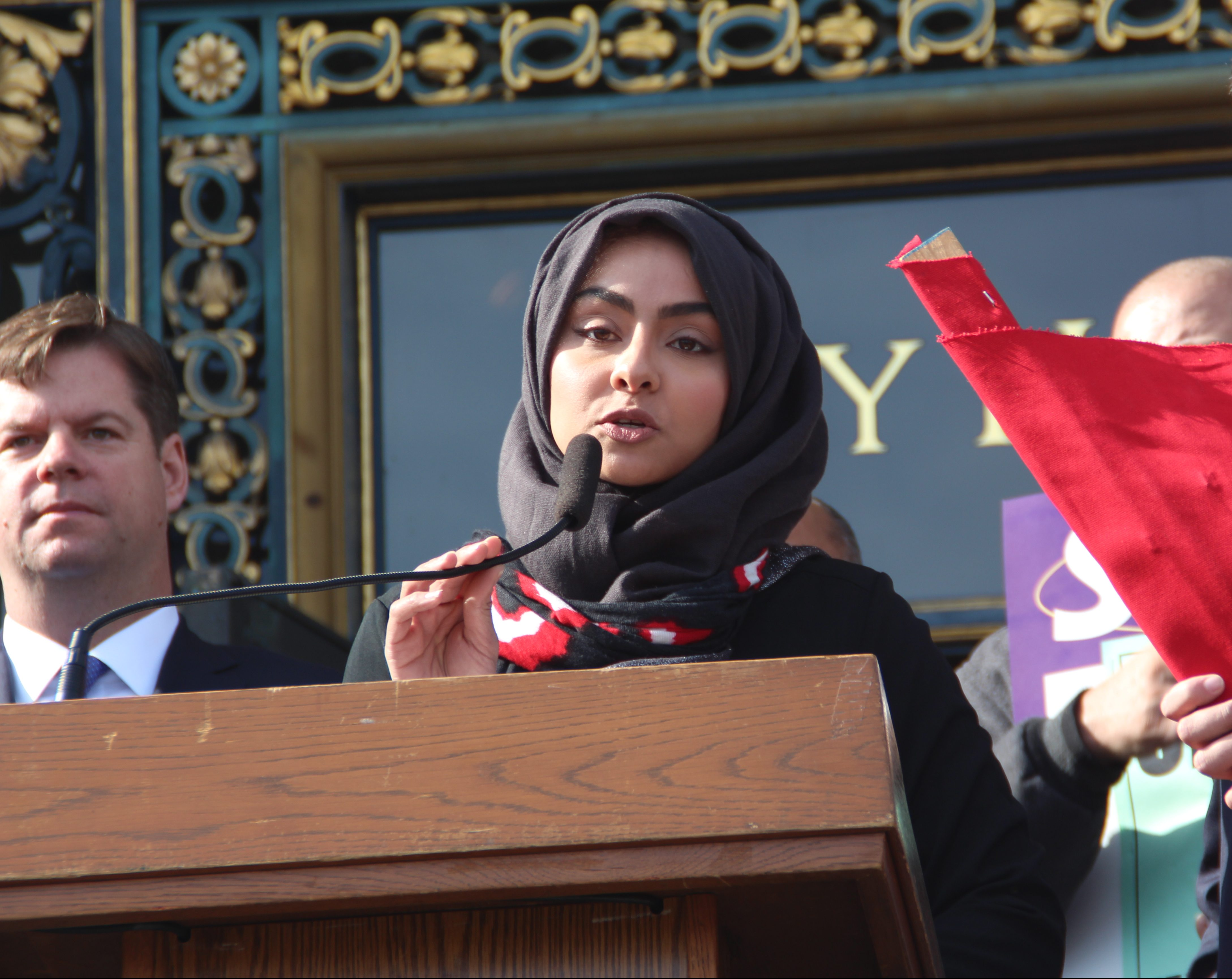 Jehan Hakim, community activist with the Asian Law Caucus, said that President Trumps executive order violated the very foundation of American values. Photo by Sana Saleem.