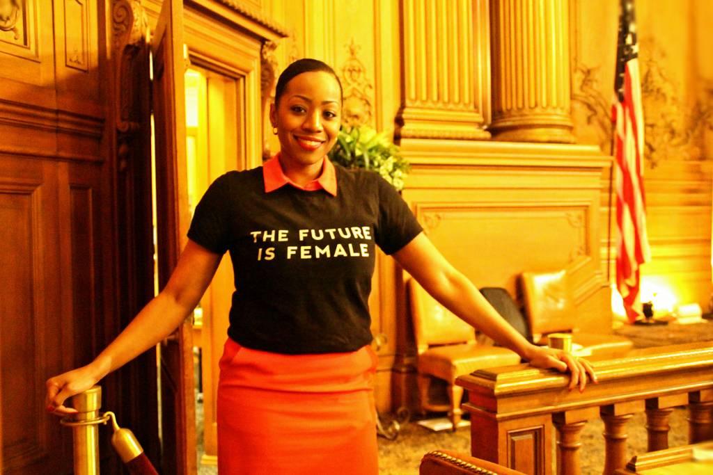 "Sup. Malia Cohen turned up sporting ""The Future is Female"" shirt, like a boss. Photo by Sana Saleem."