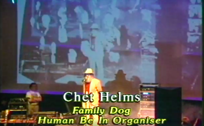 Original Human Be-In organizer Chet Helms speaks at the 1997 Digital Be-In (still from a film by Stefan G)