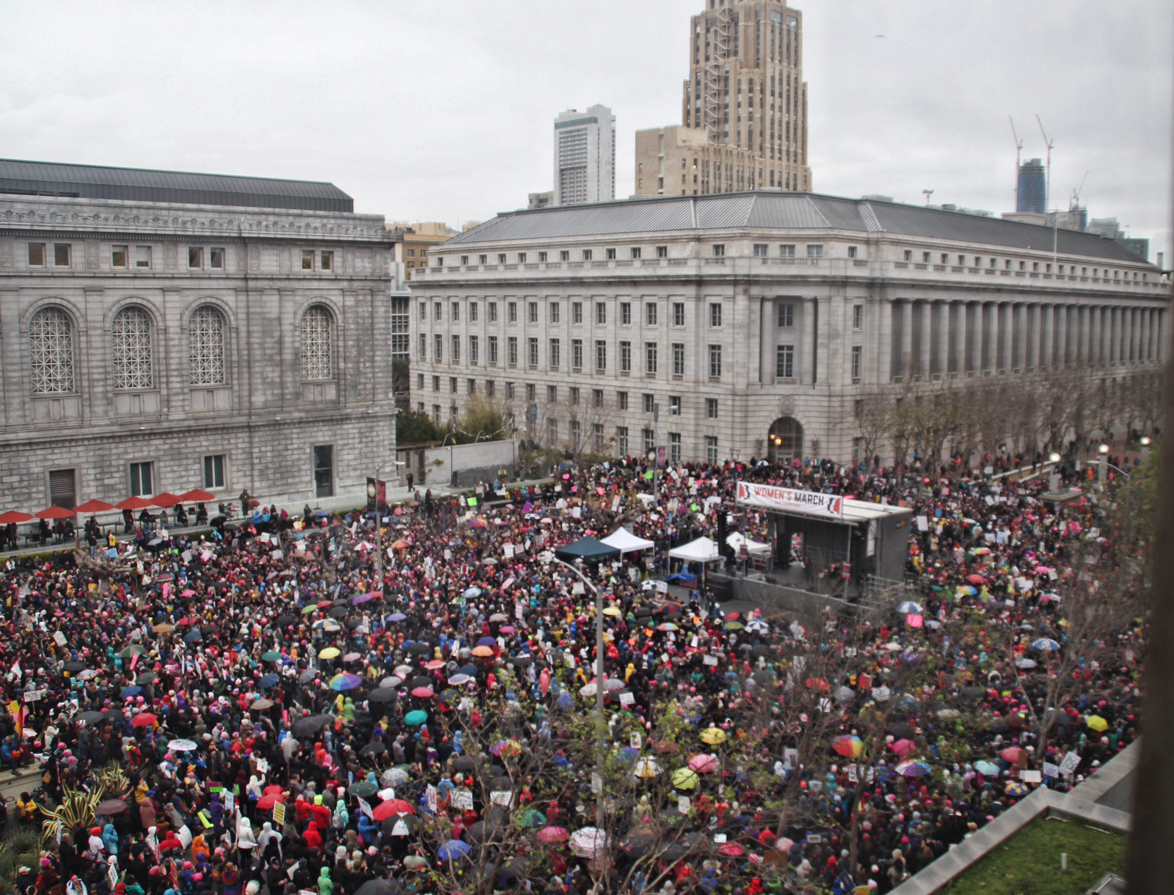 A huge crowd packed the Civic Center -- and even more joined later