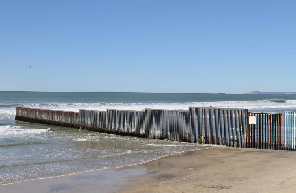 The wall doesn't trace the border, exactly. It has to be set back a full meter to comply with international law. Photo by Matthew Suárez