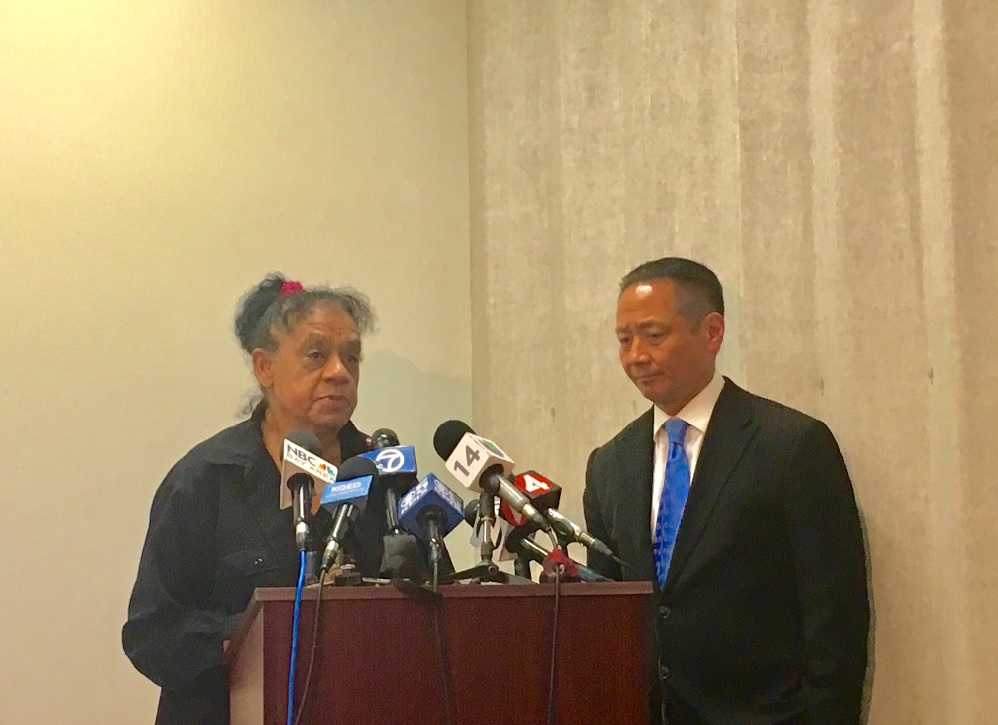 Sean Moore's mother, Cleo Moore, stands with Public Defender Jeff Adachi during a press conference on April 25th. Photo by Sana Saleem.