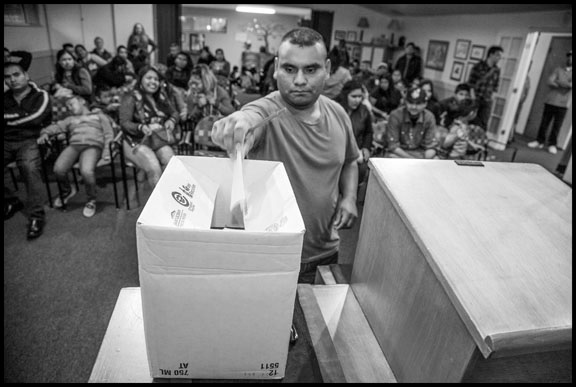 A farmworker casts his vote. Photo by David Bacon