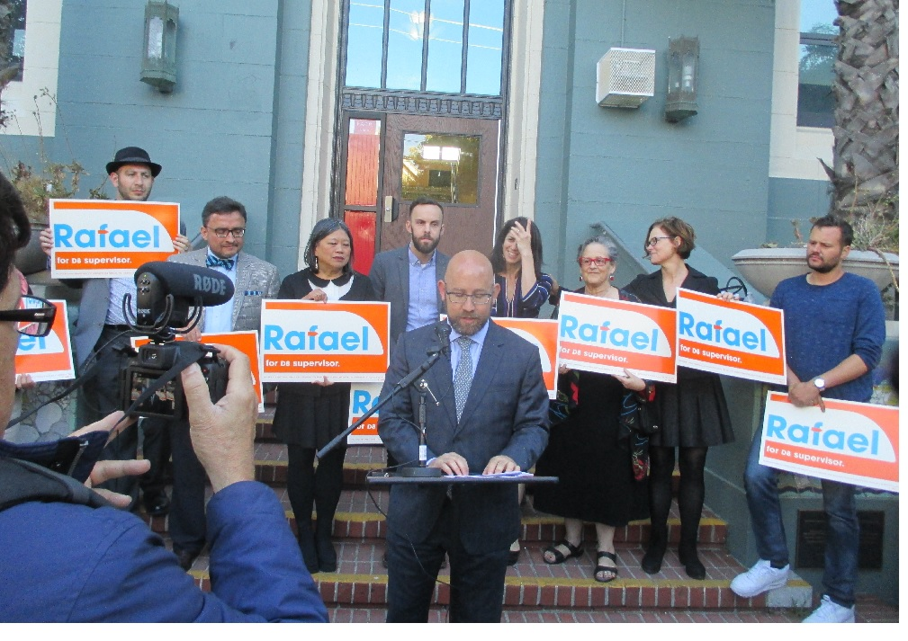 Mandelman announces his campaign with former Sup. David Campos, Sup. Sandra Lee Fewer, Community College Board member Tom Temprano, Sup. Hillary Ronen, labor activist  Hene Kelly, and College Board President Thea Selby